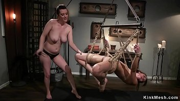 Lesbian is anal banged in pile driver