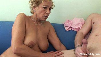 Old tit cum Blonde granny gets cum on her tits