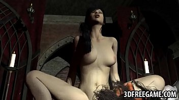 Hot 3D brunette babe getting fucked by a zombie