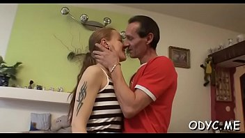 Stunning amateur babe gives an old dude a steamy oral stimulation