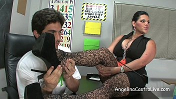 Busty Angelina Castro Threeway FootFetish BJ in Class! video