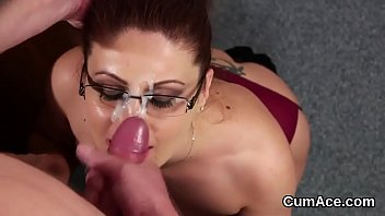 Peculiar stunner gets sperm load on her face sucking all the ejaculate