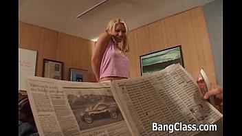 Blonde schoolgirl enjoys anal sex