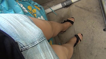 shiny pantyhose legs crossdresser TV P1