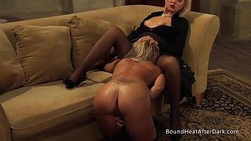 Femdom collar leash Gorgeous lesbian slave on her knees pleasuring dominant madame