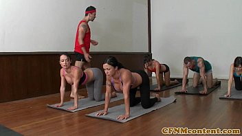 CFNM yoga milf group closeup swapping cum