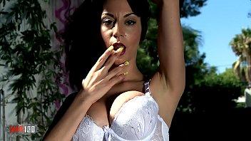 Nice Sara Ray doing a hot striptease on the sofa