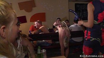 Czech slave gets double penetration in public
