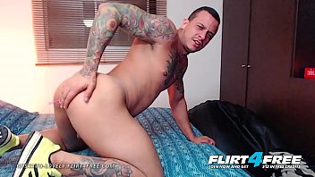 Gustavo Lovely - Flirt4Free - Tatted Latino Shows Off Big Muscles and Big Uncut Cock