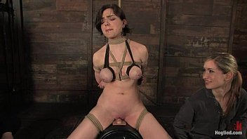 Nicotine (Sarah Hunter) is tied on a sybian forced to cum over and over