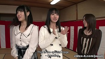 Japanese babes fuck a lucky guy, uncensored with English subs