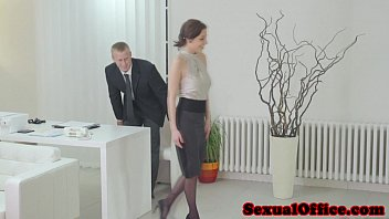 Asian secretary stockings Antonia sainz sucking dick in the office