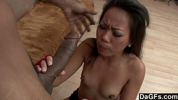 Tight asian pounded on bench - Tight asian pussy destroyed by big black cock