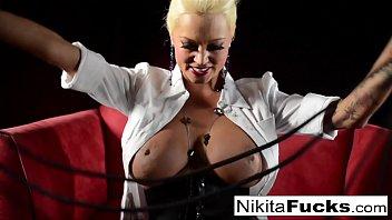 Russian Milf Nikita does bondage solo with a hitachi