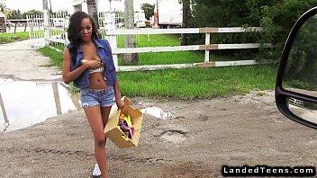 Ebony teen hitchhiker flashing boobs on the streets
