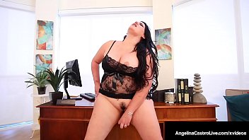 Bbw cunt clips - Plump pussy angelina castro stuffs her curvy cunt in office