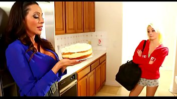 Lesbian Mom and daughter have cake time