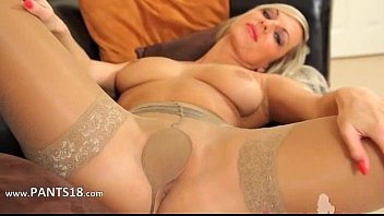 These pantyhose on incredible blonde