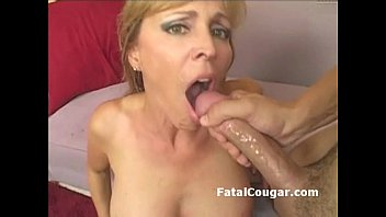 Blonde cougar slut takes pussy pounding with pussy2mouth and messy cumshot