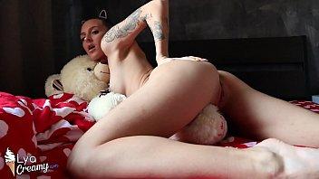Tattoed Babe Masturbate Pussy and Cum in Teddy Bear
