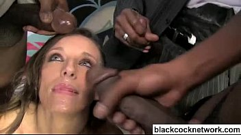 Slut gets bukakke by many men Jamie jackson interracial bukkake