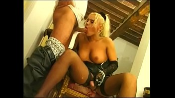 Shemale bends Blondie shemale bends over for a hardcore pounding