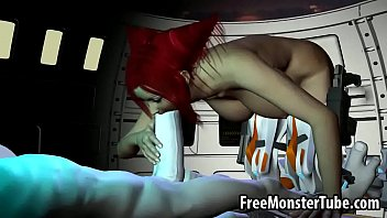 Redheaded cartoon - Hot 3d redhead babe sucks and fucks a horny alien