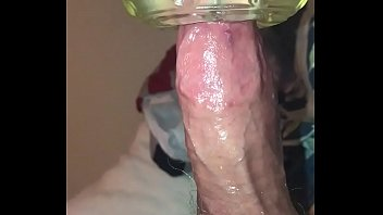 Huge veiny cock being jerked with a flesh light for a huge cumshot