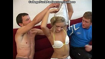 Students party one girl, 3 guys