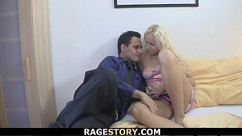 Euro blonde girl takes his angry cock from behind