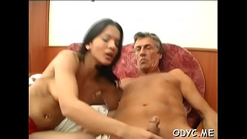 Steamy old and young action with fat dude banging hot babe