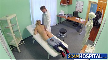 Sexy blonde Tracy sucks and fucks the pervy doctors big cock