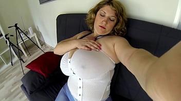 girl dildos her tight pussy (POV)