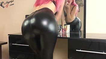Sexy Student Passionate Play Pussy Dildo at the Mirror