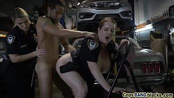 Hot cops with big tits fucked hard in a threesome by a BBC!