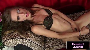 Skinny fembois strips down and masturbates