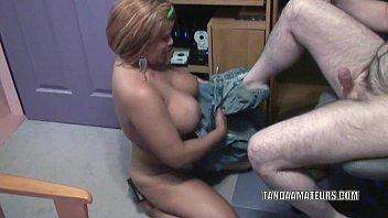 Busty MILF Angel Lynn is swallowing a stiff cock