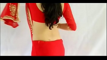 Sexy Girl Wearing Red Saree and showing her boobs and back