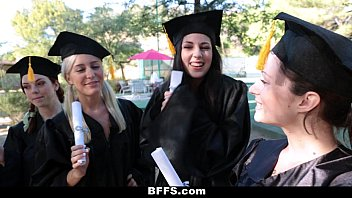 Celebrity lesbian training Bffs - celebrating graduation with lesbian threesome