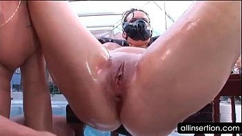 Kinky tramp gets ass hole nailed with big dildos