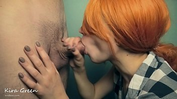 REDHEAD GIRL SUCKS A BIG DICK AND GETS CUM IN MOUTH AND TITS - DEEPTHROAT BLOWJOB HUGE CUMSHOT