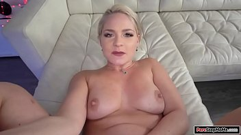 Busty milf sucking her stepsons big cock