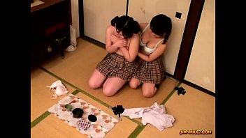 Lesbian in japan Schoolgirl getting her tits rubbed pussy licked and fingered on the floor in the