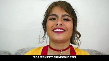 Hung Dude Banging Teen Latina Girlfriend (Lulu Ninfo) In Fishnet Stockings - Teamskeet