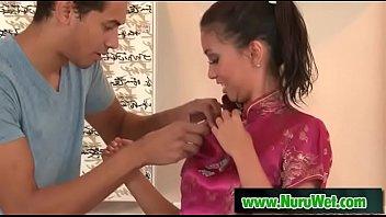 Busty masseuse gives soapy handjob - Marcus London & Allison Moore