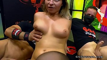 Busty stocking Busty tattooed blonde shows gangbang with swallowing