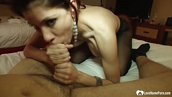 Smoking co-worker in stockings pleasures my raging boner