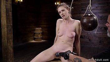 Hang her neck fetish Naked brunette slave tormented on hogtie