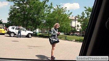 Blonde Czech teen bangs in car POV with stranger
