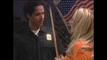 Stunning blonde chick with big natural tits Julie Robbins is ready to fuck herselsf with pool stick to get her boyfriend, police officer on duty, horny